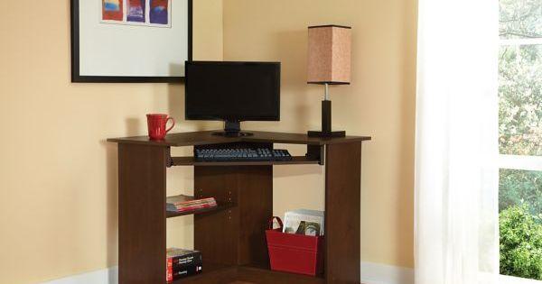 Easy2go Corner Computer Desk Resort Cherry Staples
