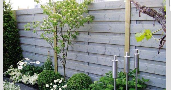 Grijze schutting tuin pinterest schutting tuin en tuinen - Moderne tuin ingang ...
