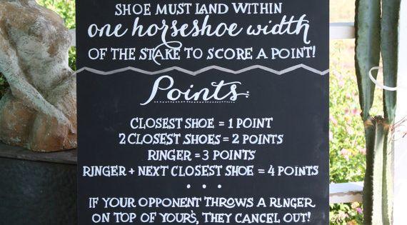 Custom Horseshoes Game Wedding Chalkboard Sign Event