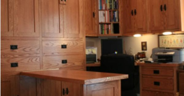 This is an american craftsman style home office with wall for Craftsman style office