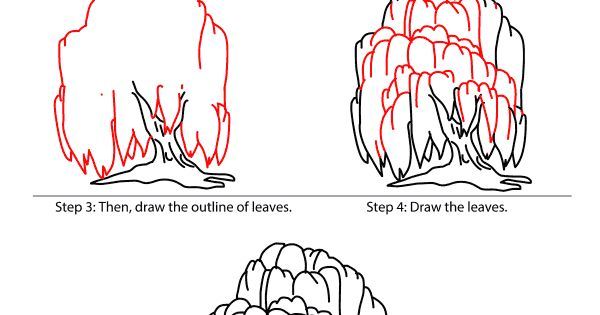 how to draw a willow tree with pencil