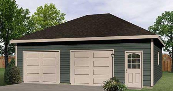 Plan 22052sl Hip Roof Drive Thru Garage Hip Roof Garage Plan Garage Plans Detached