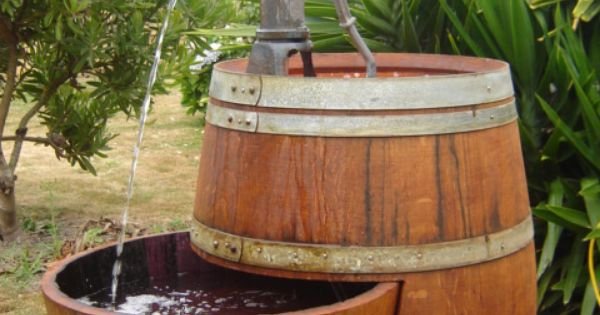 Wine Barrel Water Feature I 39 D Try To Make This Functional By Adding A Third Feature Low Enough