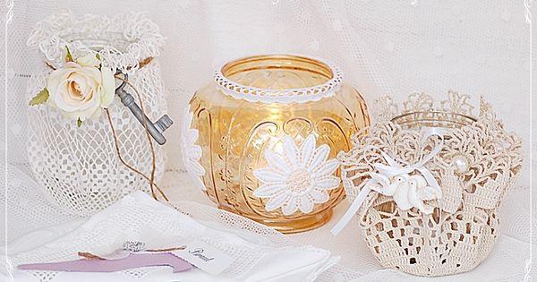 DIY - #Windlichter im #Shabby Chic und #Vintage-Stil, #Hochzeitsdeko ...