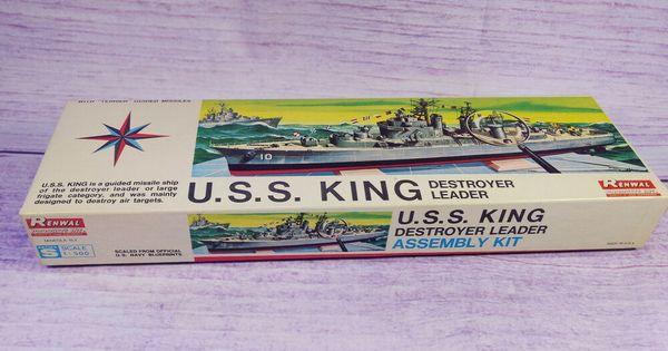 Renwal U.S.S King Destroyer Assembly Plastic Model Kit 1//500
