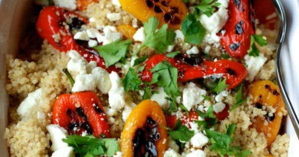 Quinoa with Roasted Peppers and feta. An incredibly easy and impressive side