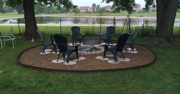 great outdoor fire pit used galvanized ring concrete pavers pea gravel weed barrier and. Black Bedroom Furniture Sets. Home Design Ideas