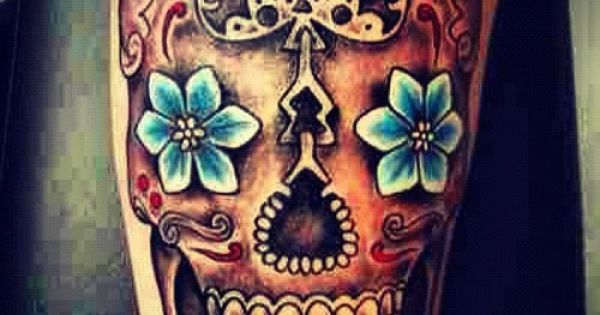 Mexican Skull - Blue flower