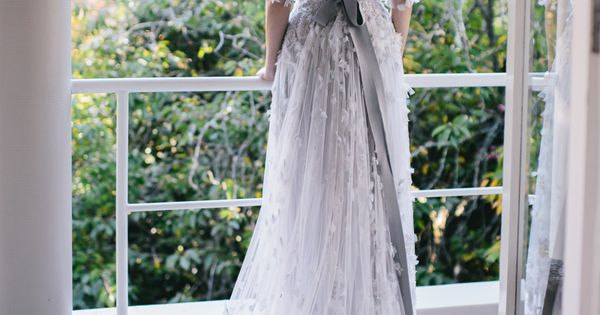 Elie Saab grey wedding gown. The Wedding Scoop Spotlight: Coloured and Non-white