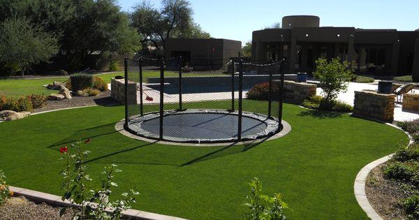 Sunken Trampoline In Turf With Netting Backyard Gym