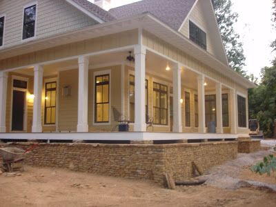 Construction Of The Tucker Bayou House Plan As Seen In Southern Living Magazine House With Porch Country House Decor Lake Houses Exterior
