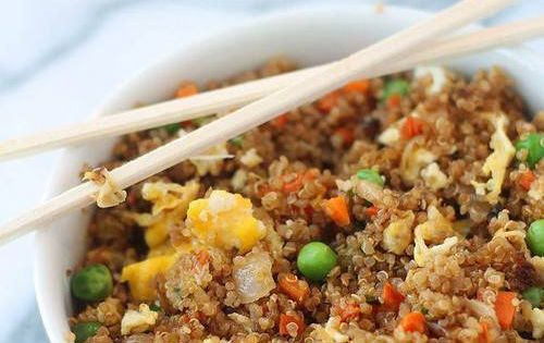 I might leave out the soy sauce. Too much sodium.-- Quinoa fried rice. Quinoa is so incredible for you and a great source of protein. Making this version of