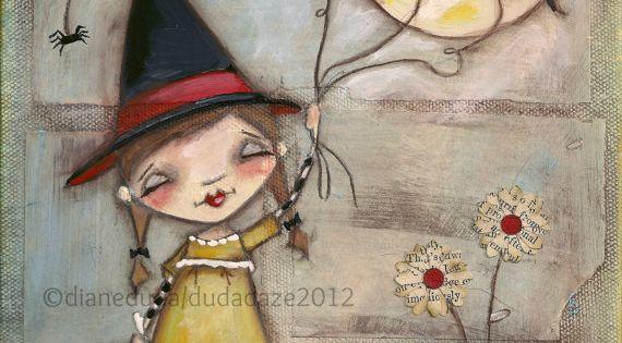 Orignal Folk Art Whimsical Halloween Painting Walking the Bats ©dianeduda/dudadaze (original is