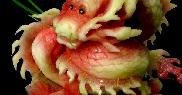 Watermelon parsley dragon fruit vegetable carving