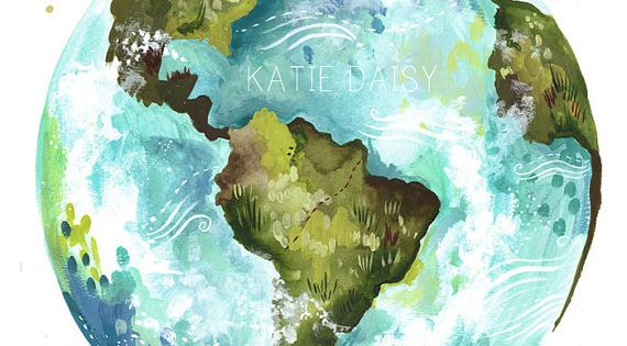 Dear Earth by Katie Daisy watercolor illustration Teather's bags