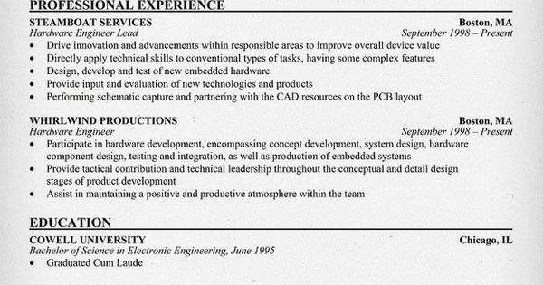 senior hardware engineer resume