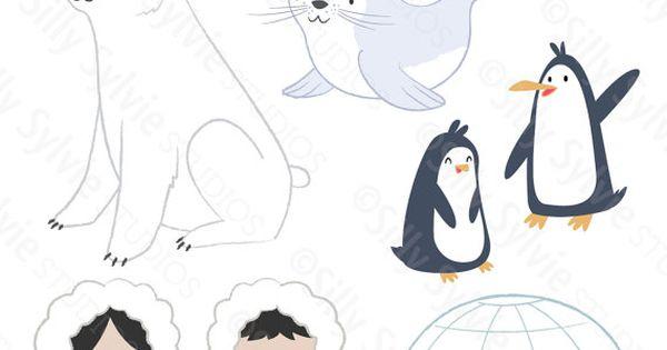 Arctic Friends Clip Art Polar Bear Penguins Seal