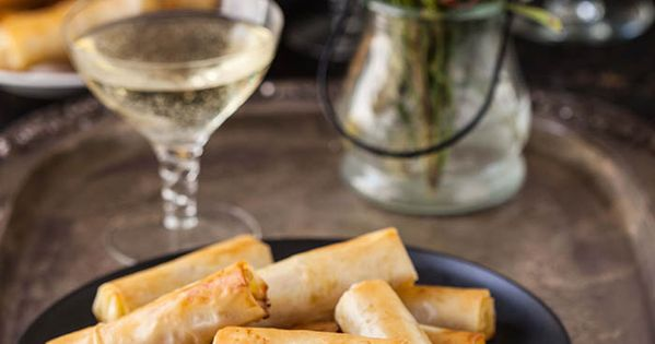 Caramelised pear and gorgonzola cigars in phyllo cheese for Blue cheese canape