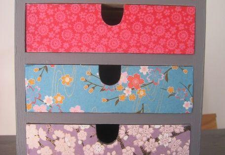 Petit meuble recouvert de papier japonais diy for Petit meuble japonais