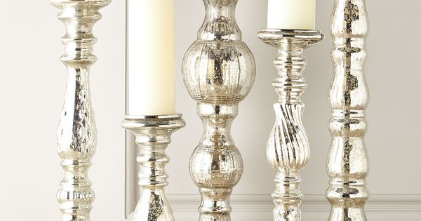 five mercury glass spindle candleholders deko pinterest sch ner wohnen dekoration und wohnen. Black Bedroom Furniture Sets. Home Design Ideas