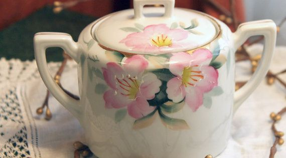Antique Noritake Sugar Bowl With Lid Hand Painted Cherry