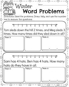 Kindergarten Math And Literacy Worksheets For February Planning Playtime Word Problems Kindergarten Word Problem Worksheets Math Word Problems