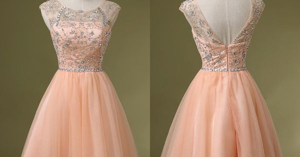Charming Peach Pink Crystal Homecoming Short Prom Dresses Homecoming Dresses | Buy