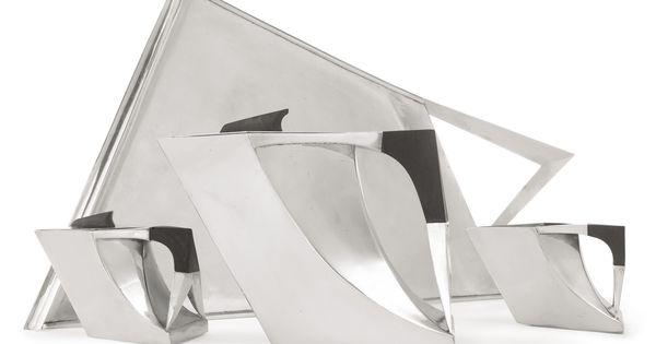 Antonio pineda three piece tea set and matching tray for Polygon produktdesign