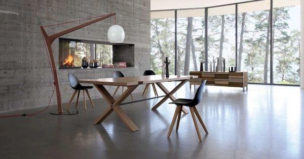 Table de salle manger en bois massif 29 designs modernes interieur design et tables - Chaise rock bobois leer ...