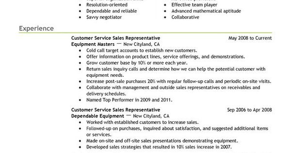 Customer Service Representatives Sales With Green Header