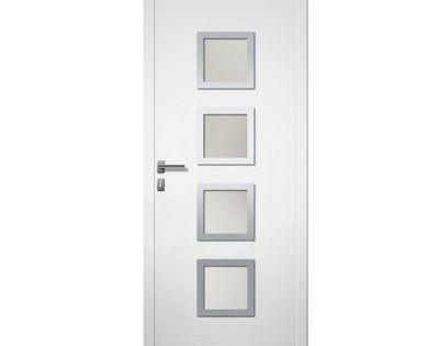 Porte D Entree Aluminium 4 Alu Lou Blanc 80 X H 215 Cm Poussant Droit En 2020 Porte Entree Aluminium Blanc Et Castorama