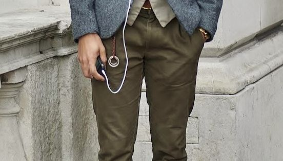 Men's wear Wool blazer, olive pants, leather shoes