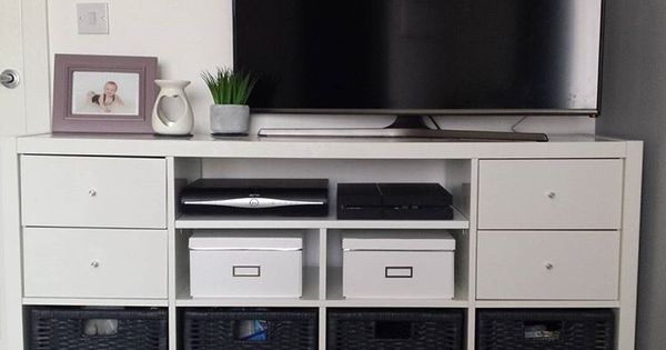 Tv stand hack using the ikea kallax system adding new - Kallax regal weiay ...