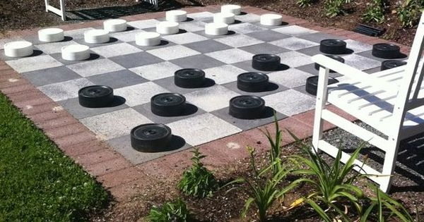 Making an outdoor game board from painted pavers would make, it could