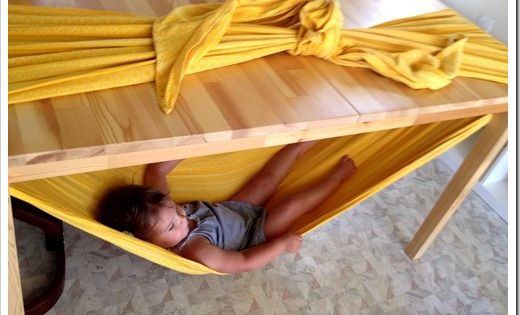 Under the table hammock. This is such a cute idea for the