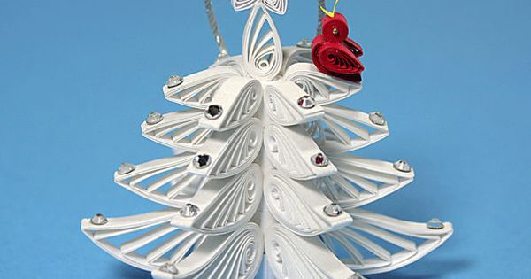 Christmas-Tree Ornament - A Wonderful Quilled / Filigree White Christmas Tree: Decorated