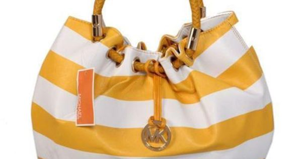 Michael Kors Outlet Striped Large Yellow Drawstring Bags -Michael Kors factory outlet