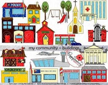 My Community Buildings Clipart By Poppydreamz Community Building My Community Clip Art