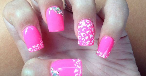 hot pink nails with diamonds - photo #6