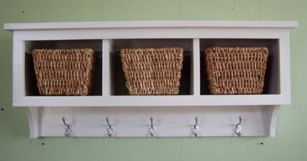 Cubby Wall Country Shelf For Baskets Bath Or Entryway W Hooks Etsy Country Shelves Shelves Coat Rack Wall