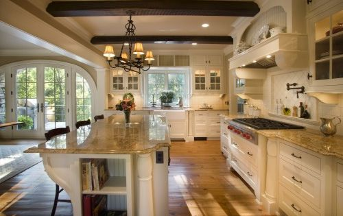 gorgeous kitchen cream / white kitchen. open & airy with french doors,