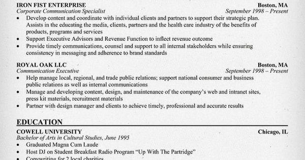 corporate communication executive sle resume