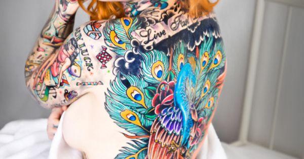 Peacock tat - back piece