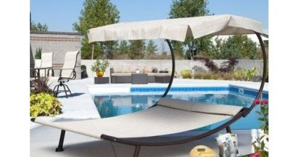 Chaise patio lounge furniture outdoor double chair canopy for Schwimmingpools preiswert