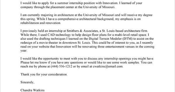 Internship Cover Letter Sample - Fastweb