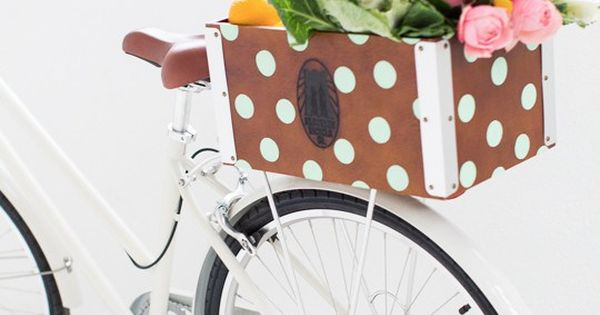 Cruise around in style when Spring and Summer roll around with this DIY polka dot bicycle basket! | See more about Bicycle Basket, Bicycles and Summer Rolls.