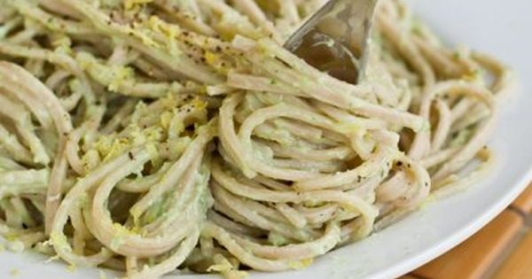 15 Minute Creamy Avocado Pasta. Blend 1 Avocado, Juice of 1/2 Lemon,