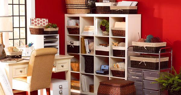 Love the red backdrop of this modern organized office.
