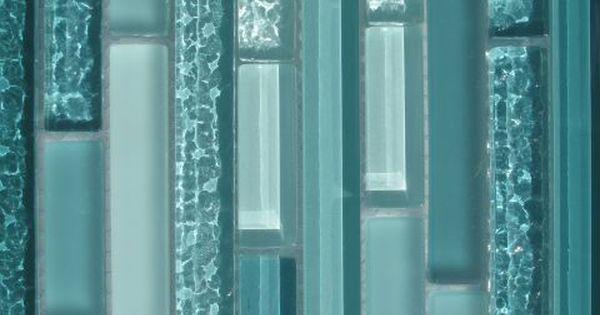 details about aqua horizontal mosaic glass tile kitchen