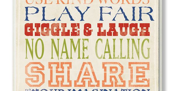 Take a look at this 'Playroom Rules' Typography Wall Art by The